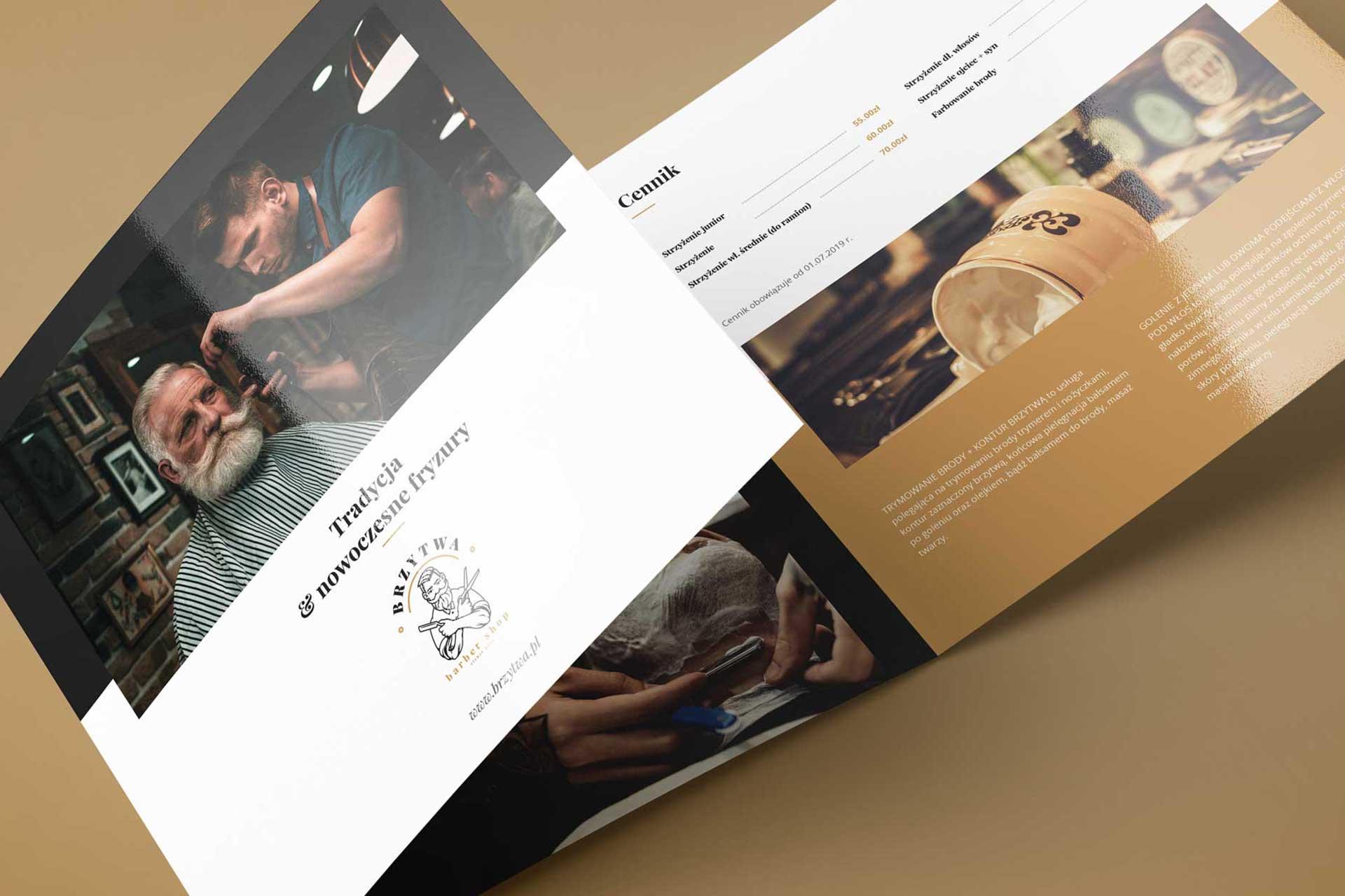 Identyfikacja wizualna w Cobance Studio - case study Brzytwa BarberShop broszura ulotka barber 2