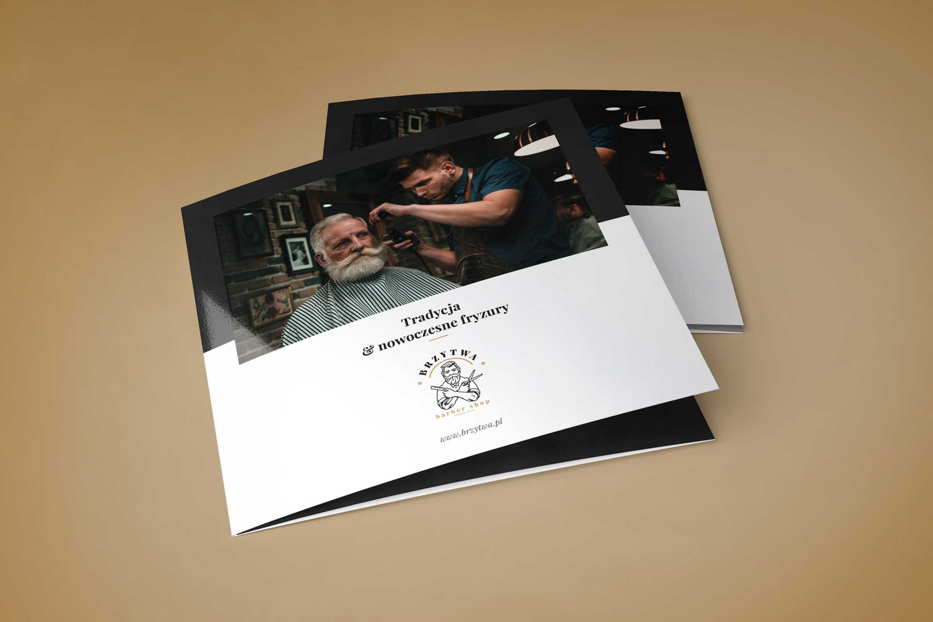 Identyfikacja wizualna w Cobance Studio - case study Brzytwa BarberShop broszura ulotka barber 3
