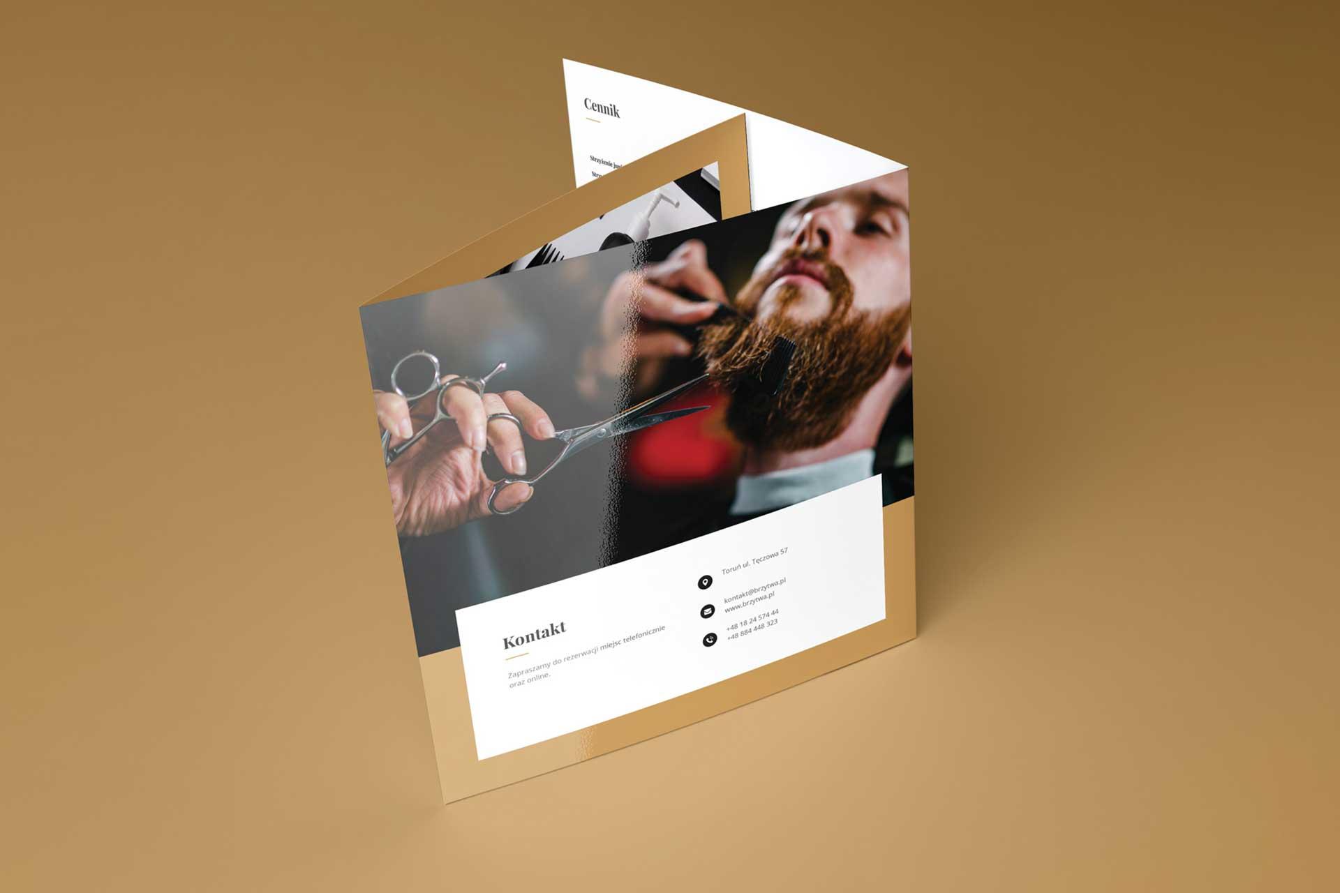 Identyfikacja wizualna w Cobance Studio - case study Brzytwa BarberShop broszura ulotka barber 5