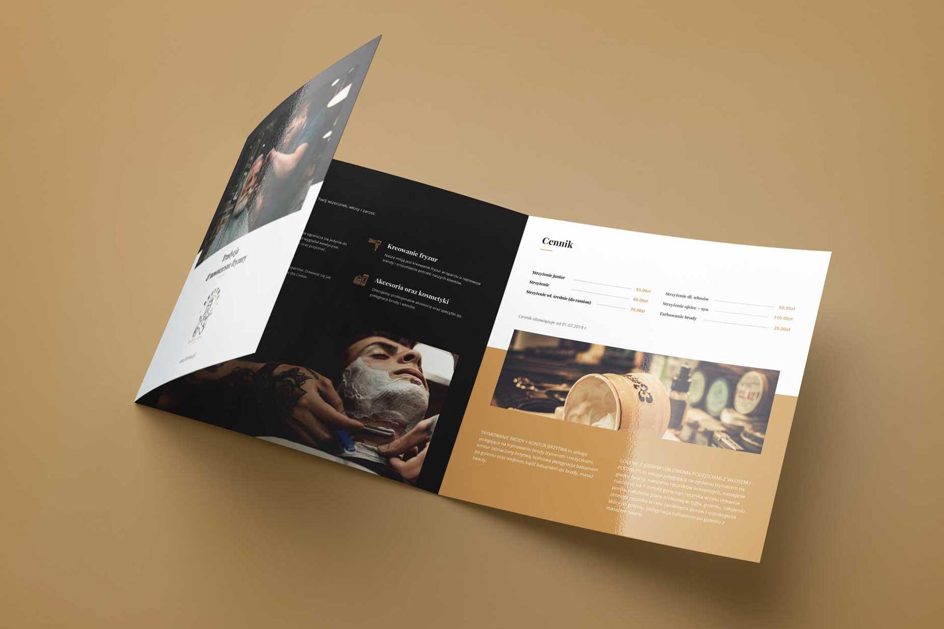 Identyfikacja wizualna w Cobance Studio - case study Brzytwa BarberShop broszura ulotka barber