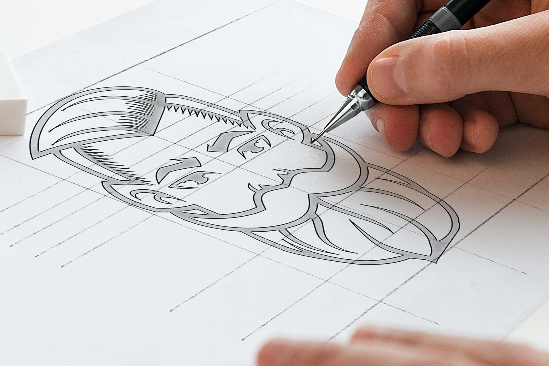 Identyfikacja wizualna w Cobance Studio - case study Brzytwa BarberShop koncepcja logo barber