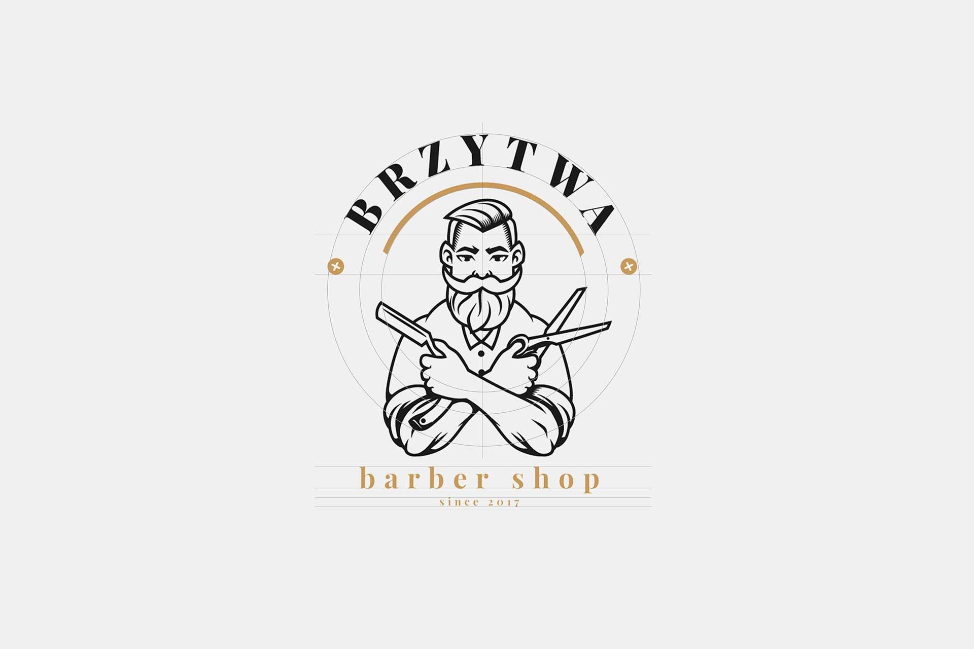 Identyfikacja wizualna w Cobance Studio - case study Brzytwa BarberShop logo barber