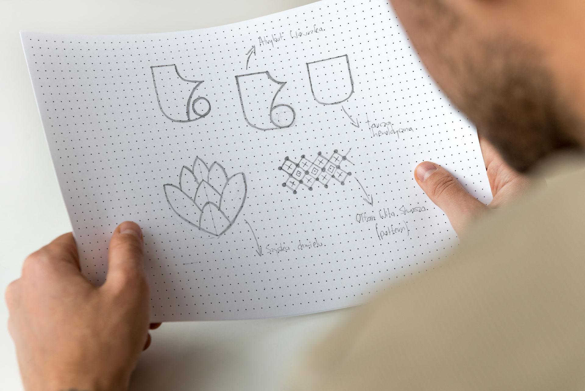Proces projektowania logo browar warzyciel logo szkic