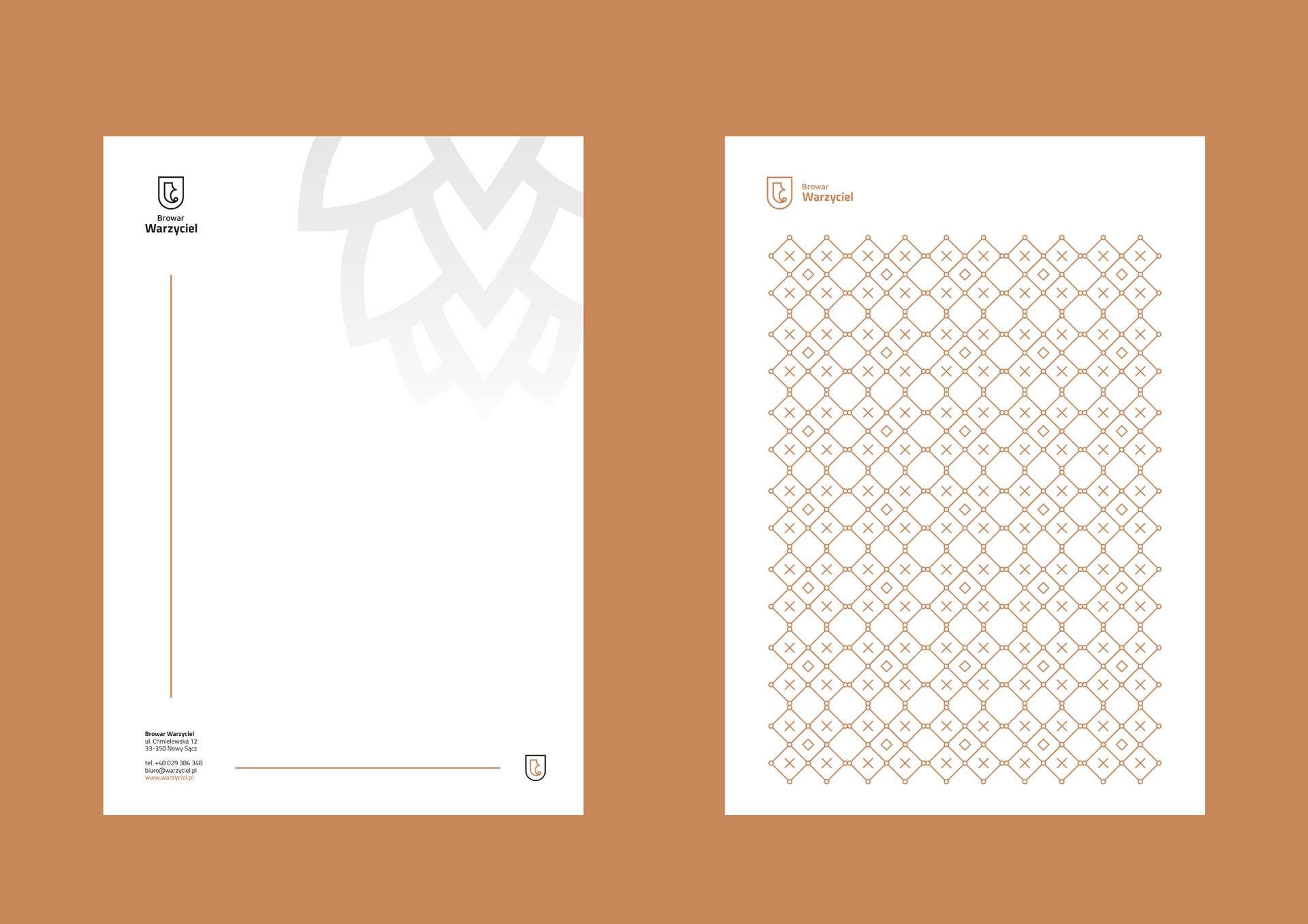 Proces projektowania logo browar warzyciel papier firmowy
